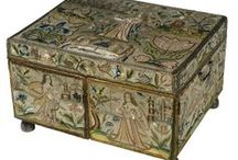 17th century english embroidered caskets, mirrors, panels and tapestries / by Mina Pam