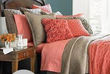 Master Bedroom Decor / Decorating ideas for a Master Bedroom. Coral and Tan Decor Ideas / by Danielle - The Frugal Navy Wife