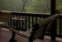 ~country porches~ / porches were once a place where neighbors would gather in the summer evenings to visit-now we decorate them-i like the visiting....
