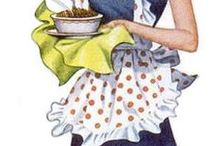 ~vintage aprons~ / my momma always wore an apron-when I was a child.