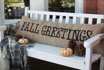 Rustic Fall Decor / Come late August, I'm itching to put out my rustic fall decor.  Pumpkins, apples, leaves, wood--almost everything outside looks gorgeous inside!