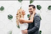WEDDINGS / Go Bananas! / A banana-themed and tropical styled modern wedding photoshoot in Los Angeles, CA featuring palms, banana leaves, and chic modern elements for a fun, cool wedding.