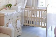 ♡Nursery Color Theme♡ / Neutral soft colors' base with dush of baby pink. Get 1) White crib, 2) cream beddings, 3) cream rug, 4) white frames, 5) Cream beige name lettering, etc. (Memo: Too add color use shades of soft beige, baby pink, and soft pewter.) / by Akane .