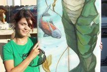 Colleen Gnos , Avila Beach CA / Mermaid and sea art on surfboards , Canvas , & murals