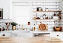dream kitchen. / Inspiration for my dream kitchen. A gorgeous mix of subway tiles, marble, brass details on black and white, rustic designs, open shelving and industrial features.