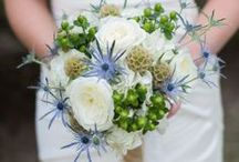 Blue Wedding Bouquets. / These are all blue wedding bouquets that Beautiful Blooms by Jen can create for you! Some pictures are of Beautiful Blooms by Jen wedding bouquets. Others are of blue bouquets we would love to make for you!