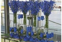 Blue Centerpieces / Blue centerpiece ideas for your event or wedding. All can be created by Beautiful Blooms by Jen. Many of the vases are available for rent from BBBJ.