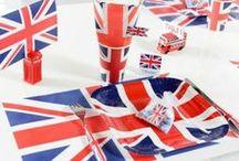 Décoration london party & Angleterre / Décoration de table pour fête à thème london party ou Angleterre, ambiance rouge, blanc et bleu pour une déco chic et design.