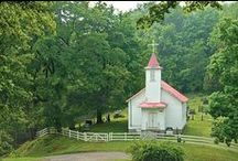 country churches... / by Linda @ Itsy Bits And Pieces