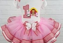 Girl's First Birthday Outfits -Clothes / Special Birthday outfits for girls, custom embroidered with name or saying