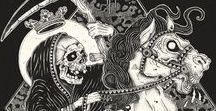 Inspirations: skulls, occultism, witches and surreal art / illustration, drawing, designer, art, skull, skeleton, inspiration, occult, witchcraft, dotart, dark art, surreal, abstract,  santa muerte, tarot, geometria,  native, goth, grunge, death, alchemy, black magic, tattoo, symbol, sacred, space, black work, mandala, cat, witch, traditional, aztec, schizumizu,