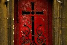 RED DOORS / Behold, I stand at the door, and knock: if any man hear my voice, and open the door, I will come in to him, and will sup with him, and he with me- Revelation 3:20 / by Jan Gruber