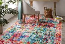 Colorful Rugs and Decor / Its official: colorful home decor is back! Ravishing red, pretty purple, hot pink and bright blue rugs aren't just for fashion risk takers; they're for everyone. Now you can add pops of color to your home with these showstopping rugs from Mohawk! (We'll also offer bright ideas for incorporating colorful furniture, wall art and accent pieces into your home decor mix.)