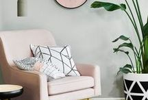 Blush Home Decor / Blush and millennial pink have made their way in to our hearts and homes! Incorporate this rose hue with simple accent pieces, pretty pillows and area rugs.