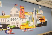 Facebook DC Office Mural / Facebook's DC wanted to spruce up a drab office wall, so they turned to JESS3 to create a full-size mural depicting Washington, D.C. Themes and Facebook technology.
