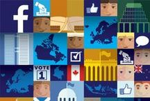"""Facebook Poster and sticker / """"It's a Small World"""" for the internet age, this double-sided poster combines simple graphics and icons to drive home the stunning impact that social media connectivity has had on politics and life around the world."""