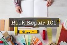 Book Repair Tools & Instructions / This is a collection of book repair supplies, tools and tutorials to help you fix torn book pages, book blocks that are falling out of their covers, book cover tears, and much more.