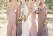 Bridesmaid dress ideas / Dusty pink/rose gold/cream/lavender colour palette, either all long or all to the knee-ish, different fabric (sparkly, lace, etc.) is fine! :)