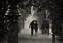 Pluie, flaques et parapluies