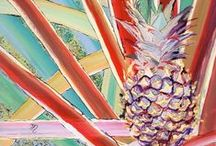 Pineapples / The pineapple has long been considered a symbol of hospitality and welcoming. Plus, it is a very yummy Hawaiian fruit! www.kauai-artist.net