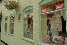 flower shop: window / window display and decoration ideas for a retail flower and gift shop