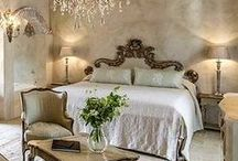 Beautiful Bedrooms / A lovely collections of chic bedrooms that are sure to inspire your next make over.  Interior design, Decor, Romantic, Headboard, Mirror, Vanity, Dressing Table, Dresser, Mirror, Shabby Chic, French Country, Contemporary, Bedding, Linens, White, Pink, Blue
