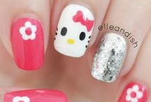 Nail Art: Hello Kitty & Other Cute Characters / You will also find Nail Designs for Minnie Mouse, Lady Bug, Betty Boop, Sugar Skull, Ice Cream,Cupcake, Owl, Bee, Disney, Panda, Penguin, Cow, Sheep and Rabbid Rabbit - Nail Polish, Mani, Manicure