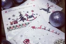 Luxury Packs of 6 Christmas Cards - Colourful designs on a luxury embossed silver swirly board. / We are delighted to offer some beautiful packs of luxury Christmas cards for you to send to family and friends this year.  Our bright and colourful designs come in packs of 6 on a beautiful shimmering silver swirled board, finished a genuine Swarovski crystal.  Each pack contains 6 cards measuring 155mm square each with 6 red berry 160mm envelopes.