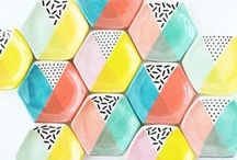 Print Inspiration - Geometric Designs / Geometric patterns and geo prints to inspire you and your surface pattern designs. Tessellating shapes, triangles, squares and hexagons, we love these beautiful textile designs and prints.