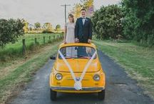 The getaway. / Uniquely awesome wedding transport.