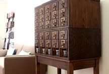 Show me your card catalog and I'll show you mine... / I love love love library card catalogs! I own three of them, all very different. This board is an ode to this lovely piece of furniture.