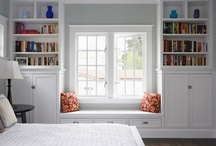 Built in bookshelves - for Chris / We're planning on adding built in bookshelves to a room in our home and there's space for a window seat. My husband doesn't understand my vision for the room, so this board is a collection of pics so he can better understand my ramblings.
