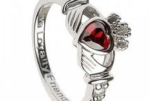Claddagh Birthstone Rings / Celtic birthstone rings made in the classic Claddagh design.