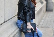 Denim and leather together - Outfit Inspiration / One of the finest and chicest combination of all times
