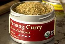 TTS Co. - Penang Curry / Create a wonderful Southeast Asian meal with Penang Curry blend.  A great combination of citrus, herb and heat, Penang Curry blend makes it easy to have an exotic meal.  Create a traditional savory curry by combining 2 Tbs of Penang Curry blend with 1 Tbs of nut butter, a dash of fish sauce or salt, and a cup of coconut milk or water to gently simmer your meat or vegetables.  We also use Penang Curry blend in ground meats, soups, roasted meats and rice.