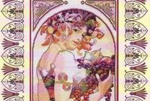 alphonse mucha in cross stitch / by Marcia Myers-Knoles