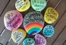 Painting Rocks / Arts and Crafts, taking an ordinary rock and making it into something special, a gift, garden marker, family tree, village, etc.