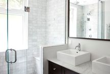 Master Bath Inspiration / Next project on my wish list - fitting a gorgeous, modern, bright bathroom into a postage-stamp sized space.