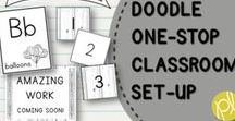 Farmhouse Doodle Classroom Decor / Calm and cozy farmhouse classroom theme with doodle sketches, white wood shiplap, galvanized steel, and more decor elements! Channeling my inner Joanna Gaines and Magnolia Farms! Pair with Doodle Classroom Decor Bundle from Positively Learning