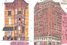 TRAVEL ILLUSTRATION : Architecture / I love architectural illustrations, whether they be wonky buildings or geometric shapes, strong lines or blocks of colour - here I celebrate the many styles of buildings.