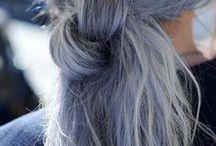 H A I R / Alternative hair styles, gray hair, blue hair, colored hair