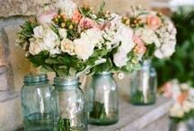 Flowers in Jars / Flowers in Bernardin Jars - you can't go wrong! Whether it's in our Decorative Jars or Vintage Coloured Jars, flowers and Bernardin Jars go hand-in-hand!