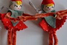 Roundheads & Cutie Pies / Little clothspin dolls taken up a notch, Chenille bumps and pipe cleaners too