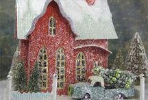 Christmas Glitter Putz Houses