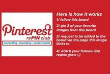 Pinterest Repin Club - Marketing - Branding - Social Media / Here is how the Pinterest Repin Club Works -  1/ Follow this board  2/ Pin 3 of your favorite images from the board  3/ Request to be added to this group board by leaving a comment on the page this image links to  4/ Watch your follows and repins rise  Marketing – Branding – Social Media Board --- pinterest, repin, pinterest tips, group board, pin, get followers, get repins, pinterest traffic, social media traffic,find group boards, join group boards, pinterest seo,pinterest marketing