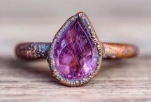 Amethyst - February`s Birthstone / Collection of February`s birthstone - purple amethyst and green amethyst,  prasiolate