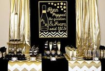 "Black and Gold Party Ideas / Black and Gold Champagne Wedding Shower  ""He Popped The Question and She Said Yes"" / by Lillian Hope Designs"