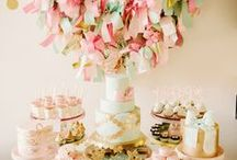 Gold Party Ideas - Mint, Coral, and Pink / by Kara Abrahamsen Lillian Hope Designs