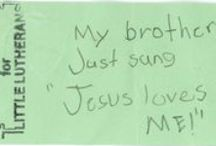 Little Lutheran Scribbles / A few of the works of art we've found among the discarded worship bulletins :)