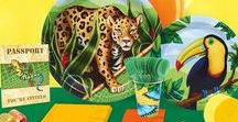 Jungle Party Ideas and Supplies / Engage with nature! The bright and colorful creatures of the jungle come to life in this theme, from fierce jaguars to fun-loving frogs. Enjoy tropical greens and natural textures in a lively environment. Your kids will feel as though they have traveled around the world for an exotic experience! It's a passport to celebrate on another continent, encouraging kids to explore and learn about what the rainforest has to offer.